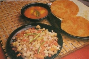 Anda Aaloo Dum With Puris at DesiRecipes.com