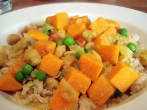 Sweet Potato And Peas Curry