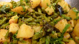 Potato With Green Beans at DesiRecipes.com