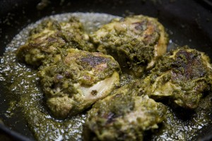 Fried Chicken With Green Masala at DesiRecipes.com