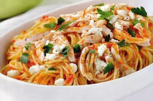 Spaghetti With Chicken And Vegetables at DesiRecipes.com
