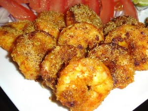 Golden Fried Prawns at DesiRecipes.com