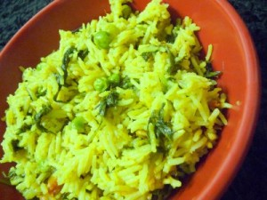 Spicy Green Rice at DesiRecipes.com
