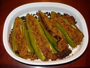 Fried Qeema With Stuffed Green Chillies at DesiRecipes.com