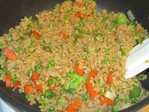 Rice And Veggies Stir Fry at DesiRecipes.com