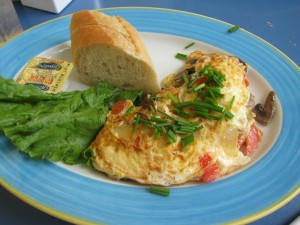 Tomato, Onion And Cheese Omelet at DesiRecipes.com