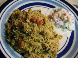 Methi Pulao at DesiRecipes.com